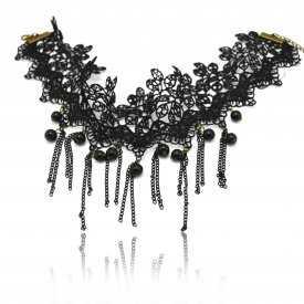 """Collier """"Renaissance - Wide"""" en macramé et perles de synthèse"""