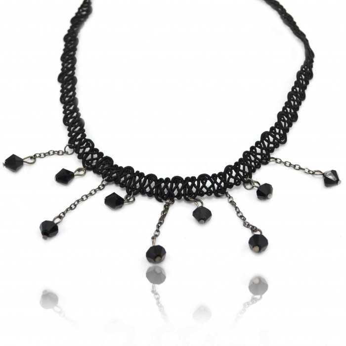 """Collier fantaisie """"Renaissance - Thin"""" en macramé et perles à facettes"""