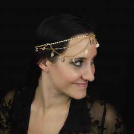 """Headband """"Arwen"""" en métal argenté, strass et résine"""