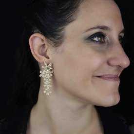 """Boucles d'oreilles """"Magique"""" en métal et strass"""