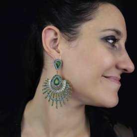 """Boucles d'oreilles orientales """"Bagdad"""" en métal doré, strass et résine"""