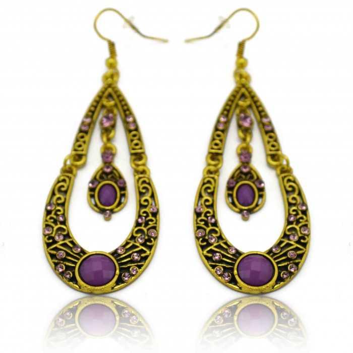"""Boucles d'oreilles orientales """"Ankara"""" en métal doré, strass et résine"""