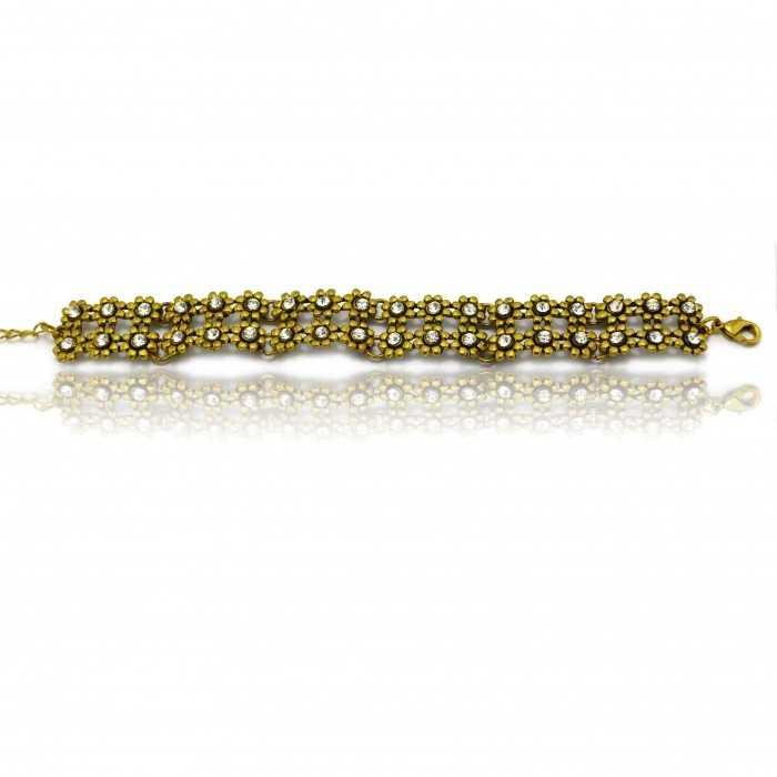 """Bracelet """"Fleurette"""" en métal et strass"""