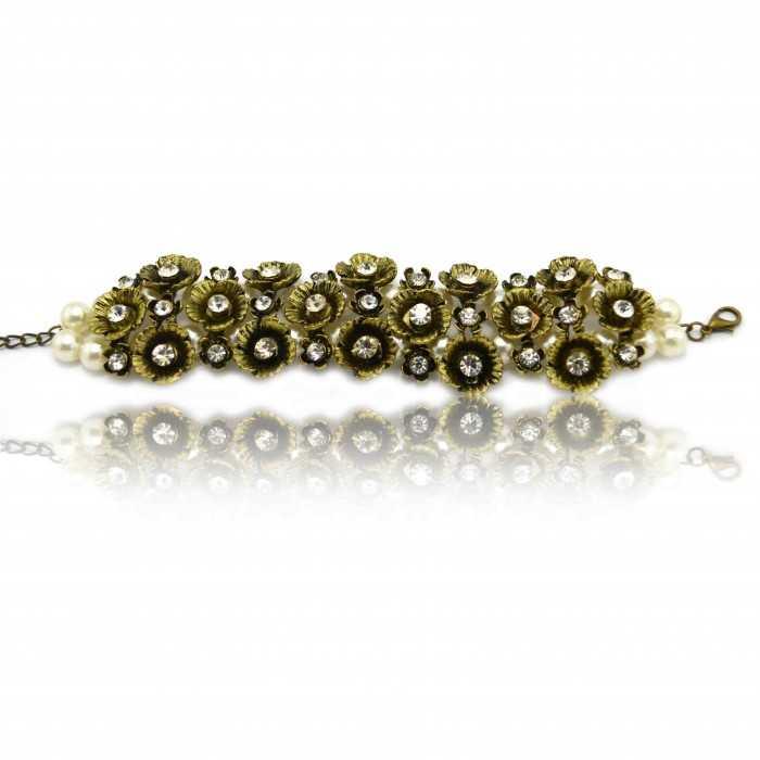 """Bracelet fantaisie """"Romantique"""" en métal doré, strass et perles de synthèse"""