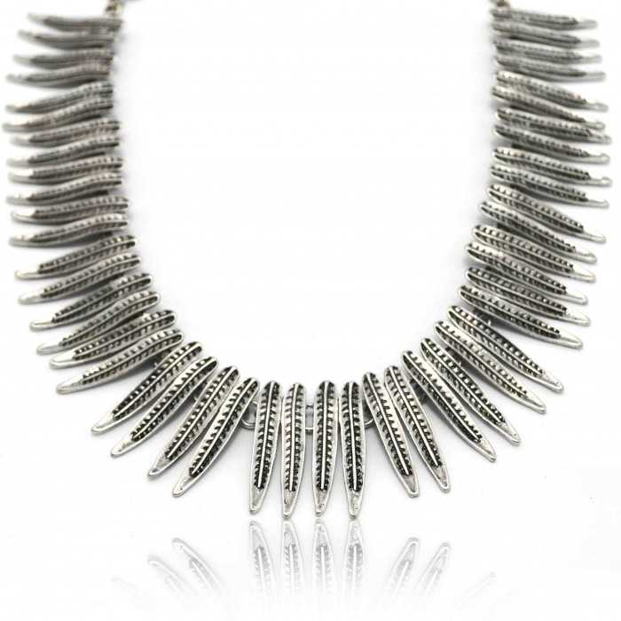 "Collier fantaisie ""Feather"" en métal"