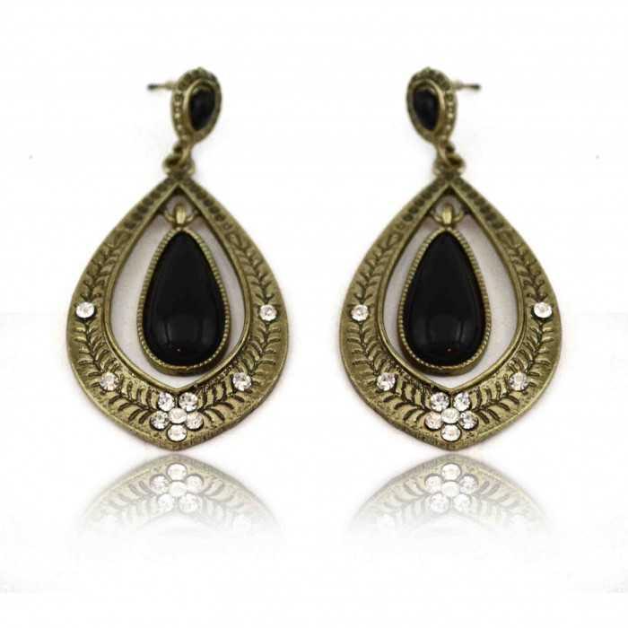 """Boucles d'oreilles fantaisie """"Smart drop"""" en métal doré, strass et résine"""