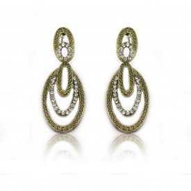 """Boucles d'oreilles """"Smart Ovale"""" en métal doré et strass"""