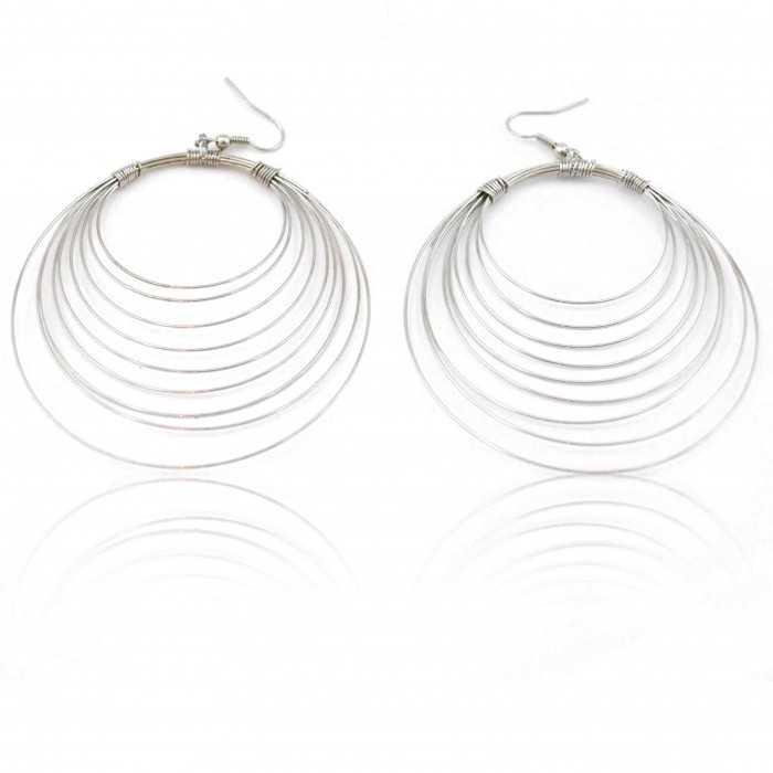 """Boucles d'oreilles """"Créoles Multiples"""" en métal argenté"""
