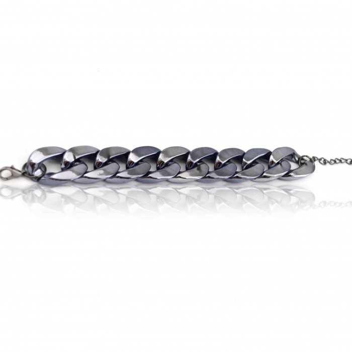 """Bracelet """"Grosse maille"""" en métal fin argenté"""