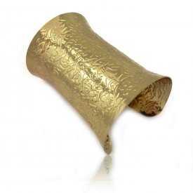 """Bracelet-manchette """"Draws"""" en métal doré"""