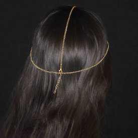 """Headband """"Inna"""" en métal doré et strass"""