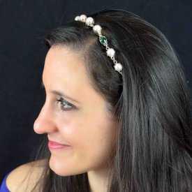 """Headband """"Barok"""" en métal argenté, perles et ruban"""