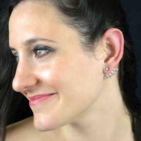 """Boucles d'oreilles fantaisie """"Little stars"""" en métal argenté et strass"""