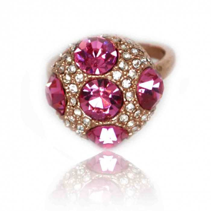"""Bague """"Pink Diamonds"""" en métal doré et strass"""