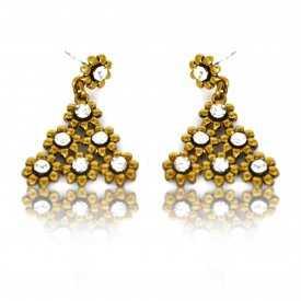 "Boucles d'oreilles fantaisie ""Strass Triangles"" en métal doré et strass"