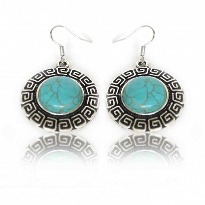 """Boucles d'oreilles """"Grèce Antique"""" en métal argenté et turquoise"""