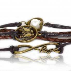 """Bracelet """"Leather - Birdy Hope"""" en métal doré vieilli, cuir et perle de synthèse"""