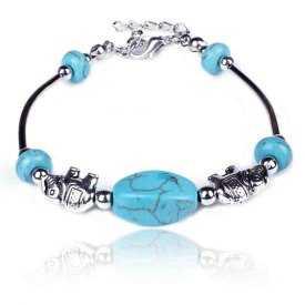 """Bracelet fantaisie """"Indian Elephant"""" en métal argenté et turquoise"""