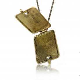 "Collier fantaisie ""Box - Love Birds"" en métal doré vieilli, émail et strass"