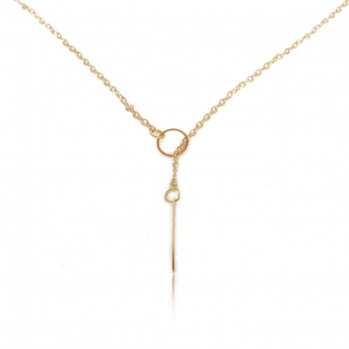 "Collier fantaisie ""Simple Grace"" en métal doré"