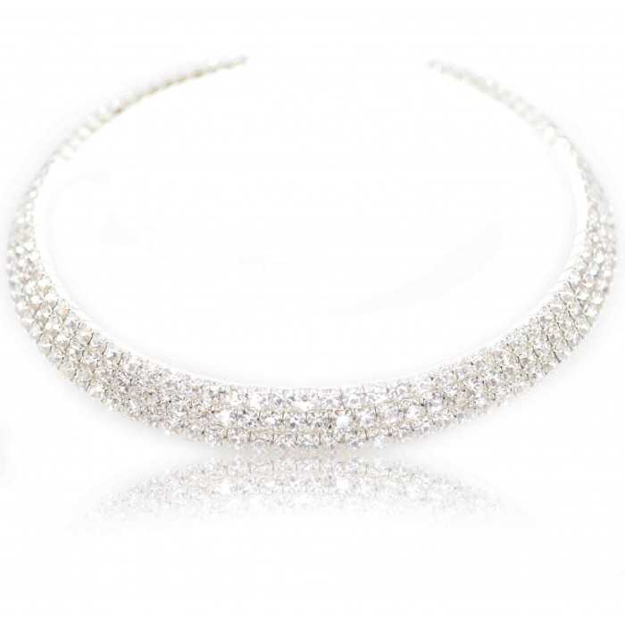 "Collier fantaisie ras de cou ""Luz"" en strass - 3 rangs"