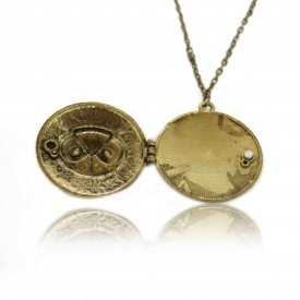 "Collier ""Box - Sweet Owl"" en métal doré vieilli et strass"