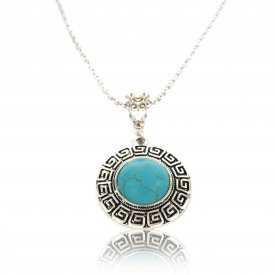 """Collier fantaisie """"Grèce Antique"""" en métal argenté et turquoise"""