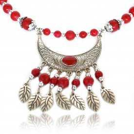 """Collier fantaisie """"Pokhara"""" en métal argenté, émail et perles de bois"""