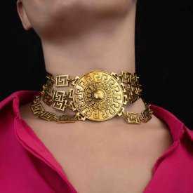 """Collier """"Thessalonique"""" en métal doré vieilli"""