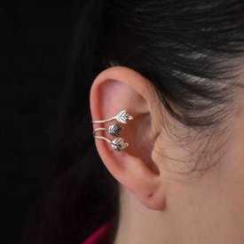 """Boucles d'oreilles fantaisie """"Roman"""" en métal argenté"""