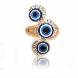 """Bague fantaisie """"Eyes"""" en métal doré et perles"""