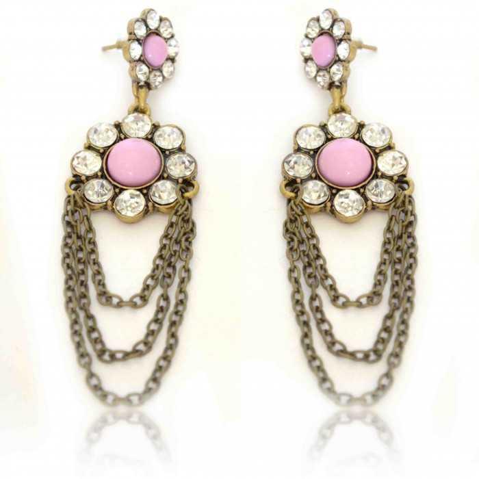 """Boucles d'oreilles """"Greek Flower"""" en métal doré, strass et résine"""