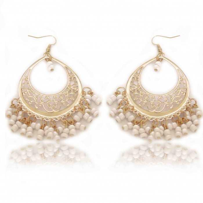 """Boucles d'oreilles orientales """"Light"""" en métal fin doré et perles de résine"""