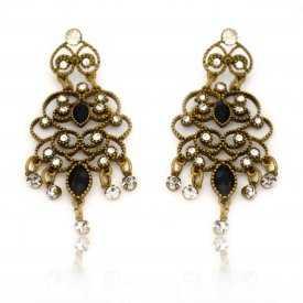 """Boucles d'oreilles """"Cascada"""" en métal doré vieilli, strass et résine"""