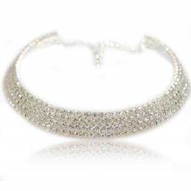 "Collier fantaisie ras de cou ""Luz"" en strass - 4 rangs"