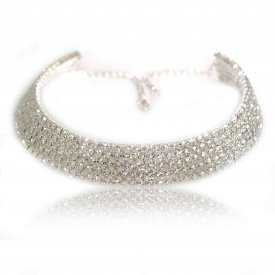 "Collier fantaisie ras de cou ""Luz"" en strass - 5 rangs"
