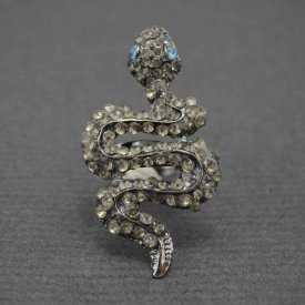 """Bague """"Serpent étincelant"""" en métal argenté et strass"""