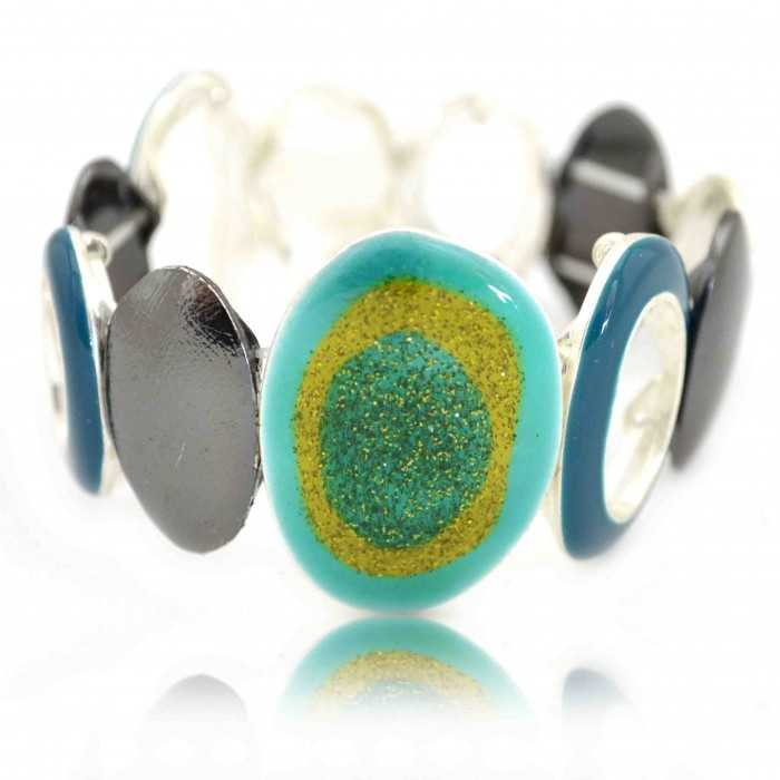 """Bracelet fantaisie élastiqué """"Ikita - Colorful"""" en métal argenté, ahtracite et émail"""