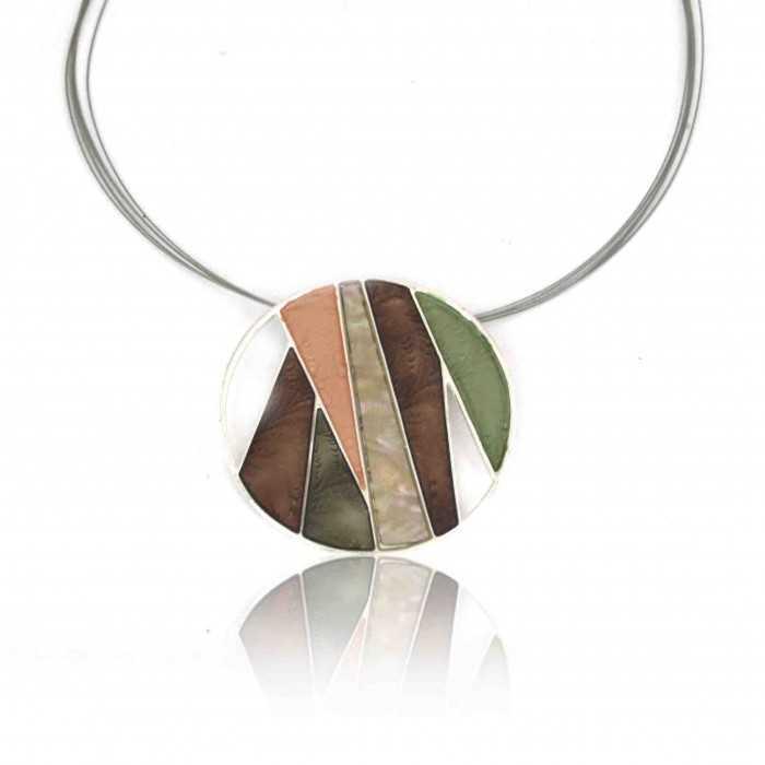 """Collier """"Pure by Noa - Madison"""" en métal argenté et émail, sur câbles"""