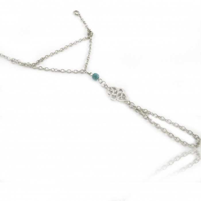 """Bracelet-bague """"Arabic"""" en métal argenté et turquoise"""