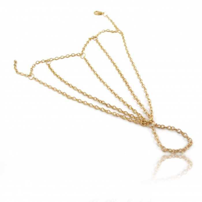 """Bracelet-bague """"Spider Web"""" en métal doré"""