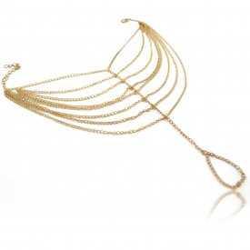 """Bracelet de cheville """"Indian Foot"""" en métal doré"""