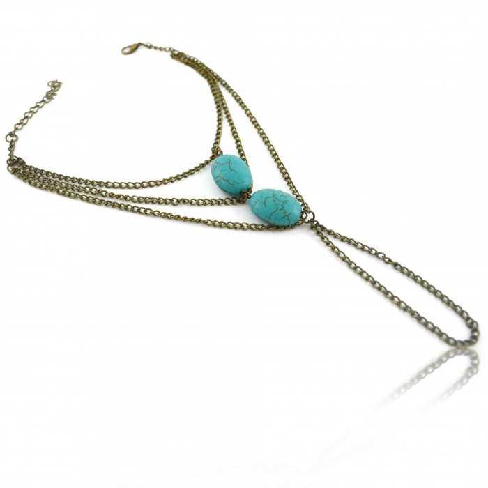 """Bracelet de cheville """"Mahatma"""" en métal doré vieilli et turquoise"""