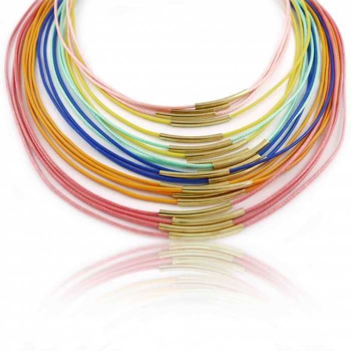 """Collier """"Multicolore"""" en métal doré et cordons de tissu"""