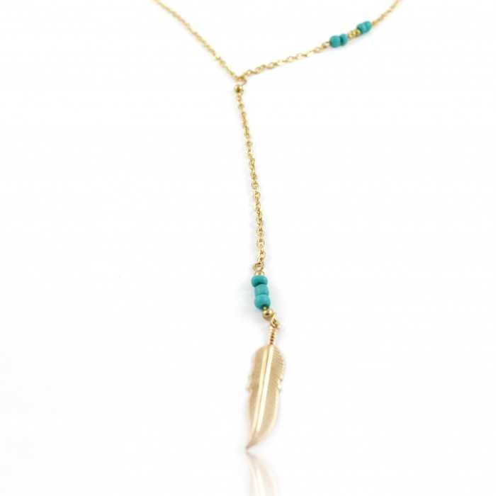 "Collier ""Tiny Feather"" en métal doré er turquoise"