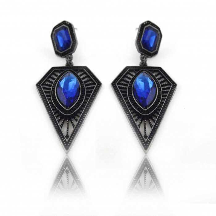 """Boucles d'oreilles orientales """"Samia"""" en métal anthracite et résine"""