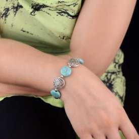 """Bracelet """"Jaipur"""" en métal argenté et turquoise"""