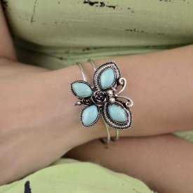 """Bracelet-manchette """"Papillon"""" en métal argenté et turquoise"""
