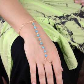 """Bracelet-bague """"Chain & Balls"""" en métal doré et turquoise"""