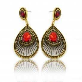 """Boucles d'oreilles orientales """"Tahia"""" en métal doré et résine"""